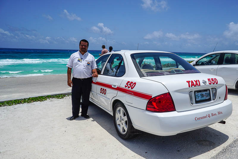 We hired a taxi driver in Cozumel