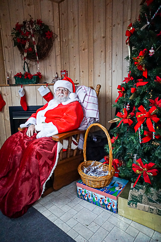 Santa at the Santa Shanty in Lincoln Square, Gettysburg