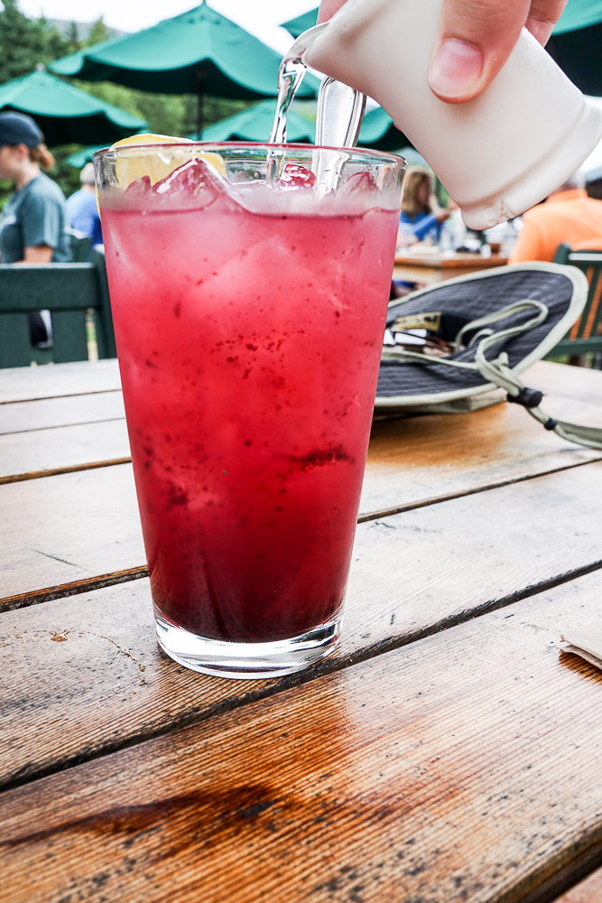 Blueberry lemonade with simple syrup at Jordan Pond House