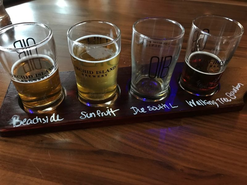 Beer flight at Orchard Island Brewery