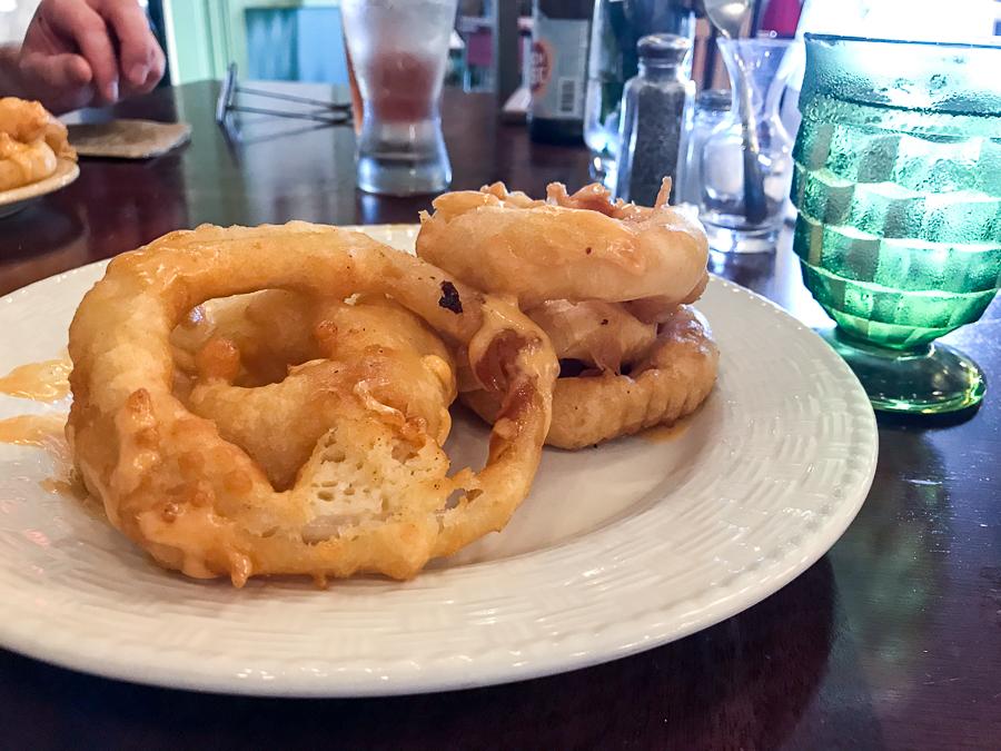 Hand battered onion rings at MoonShadow Cafe