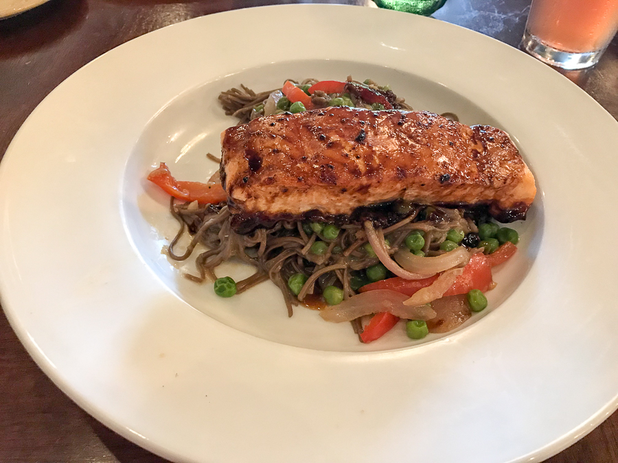 glazed salmon and miso soba noodles at MoonShadow Cafe