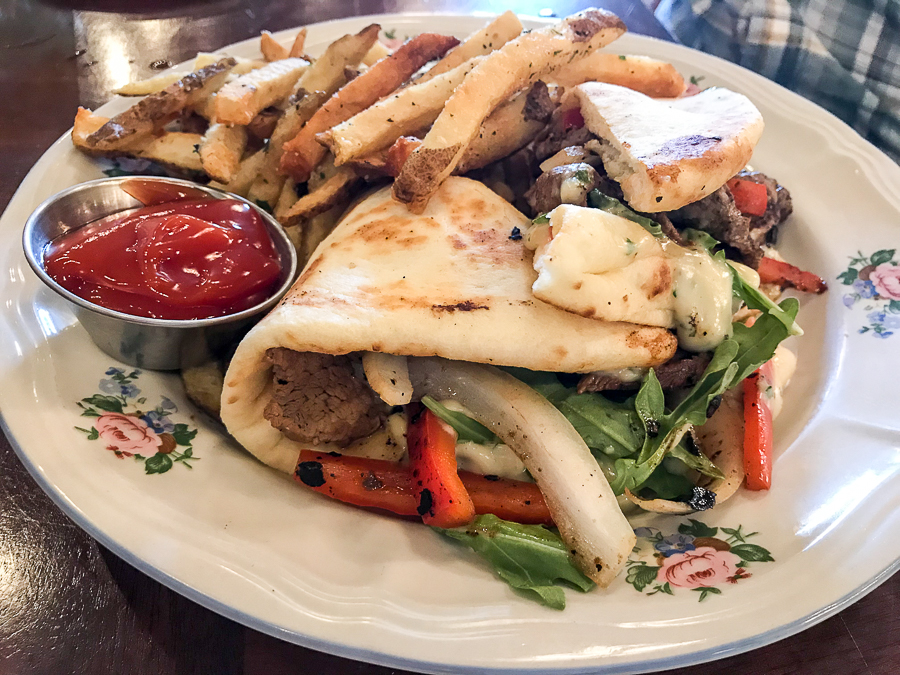 Steak and brie pita at MoonShadow Cafe
