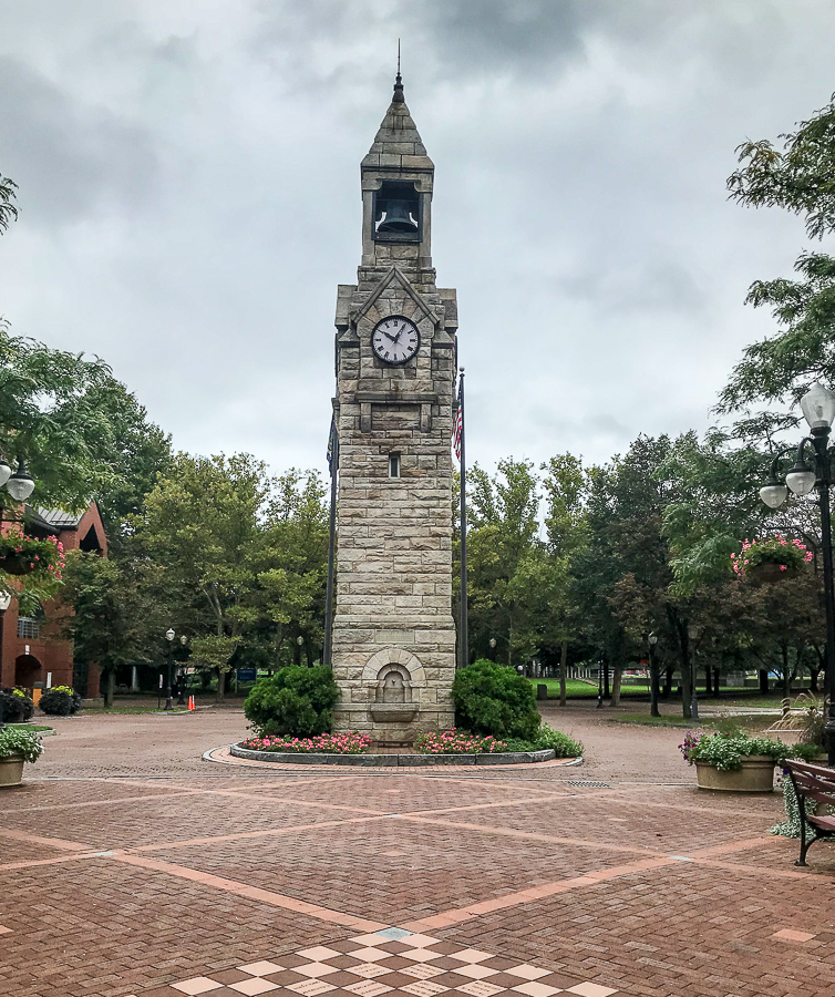 Clock tower in Corning, NY