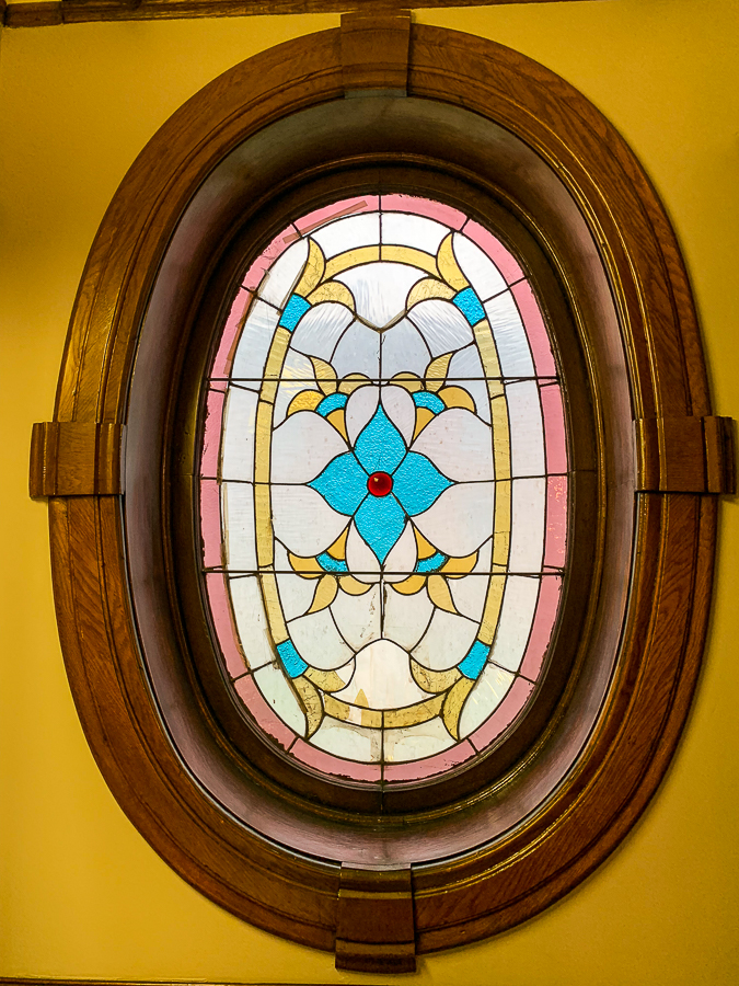 Stained glass at Gage Mansion